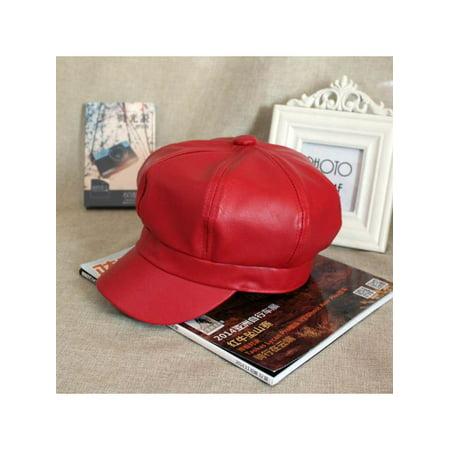 Stylish Women Casual Vintage PU Leather Octagonal Hat Caps Warm Bonnet Beret for Spring Winter Outdoor But I Vintage Bonnet