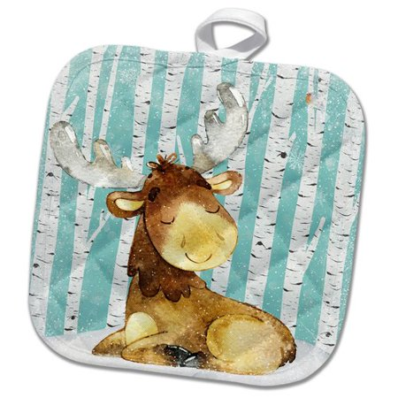 3dRose Woodland Friends in Snowy Winter Forest Water Illustration Deer Pot Holder