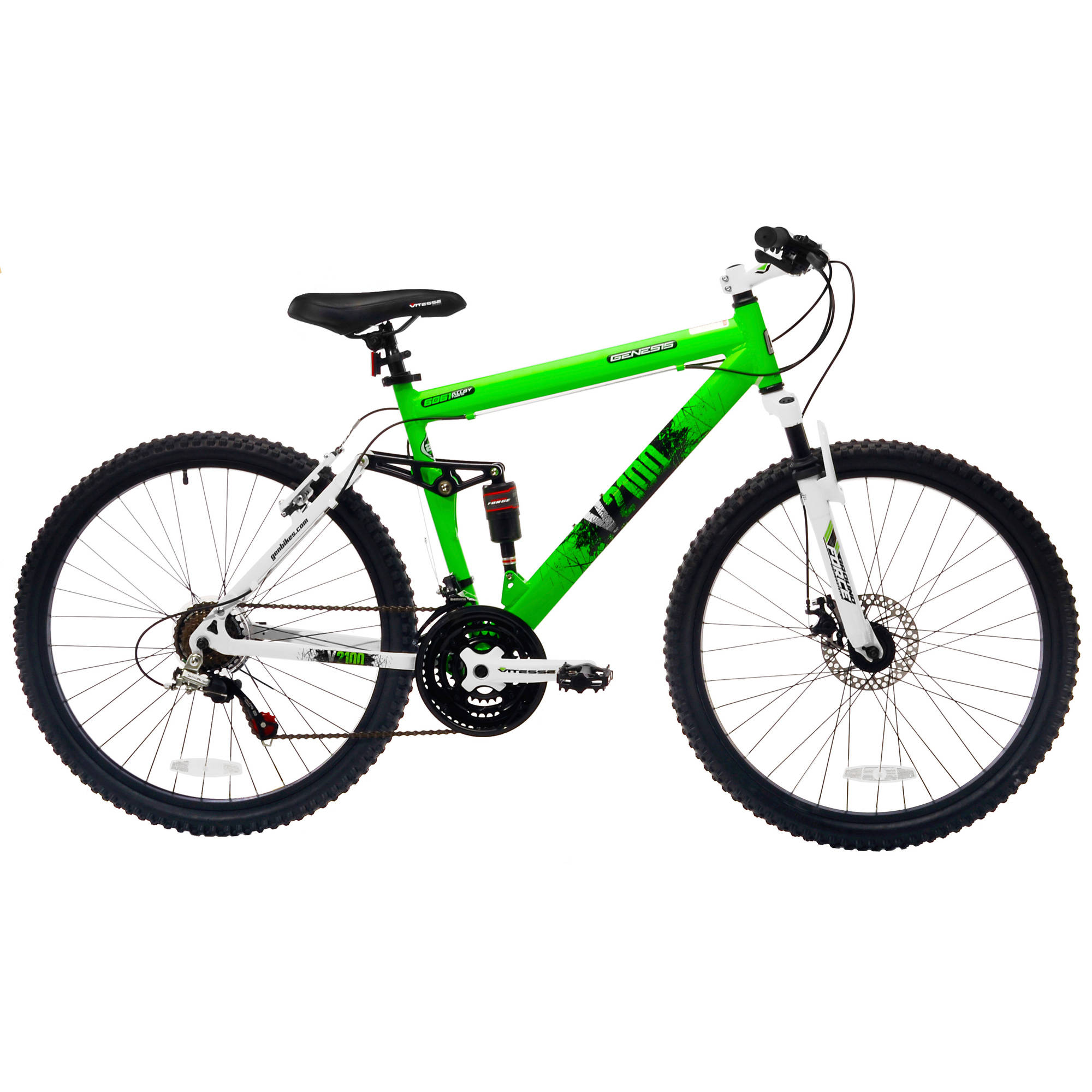"26"" Genesis V2100 Men's Mountain Bike with Full Suspension, Available in 4 Colors"