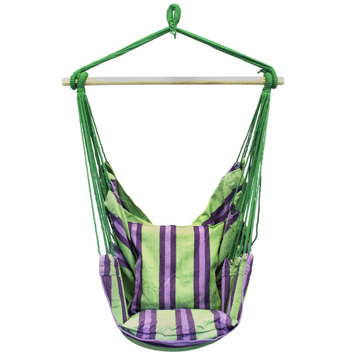 Sorbus Hanging Rope Hammock Chair Swing Seat for Any Indoor or Outdoor Spaces, 2 Seat Cushions Included, Green/Purple