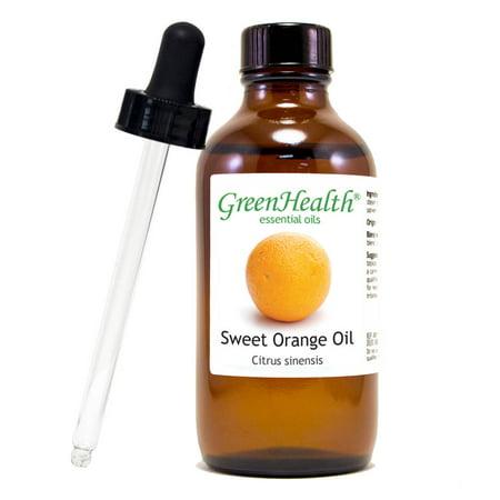 Sweet Orange Essential Oil - 4 fl oz (118 ml) Glass Bottle w/ Cap & Additional Glass Dropper - 100% Pure Essential Oil by GreenHealth