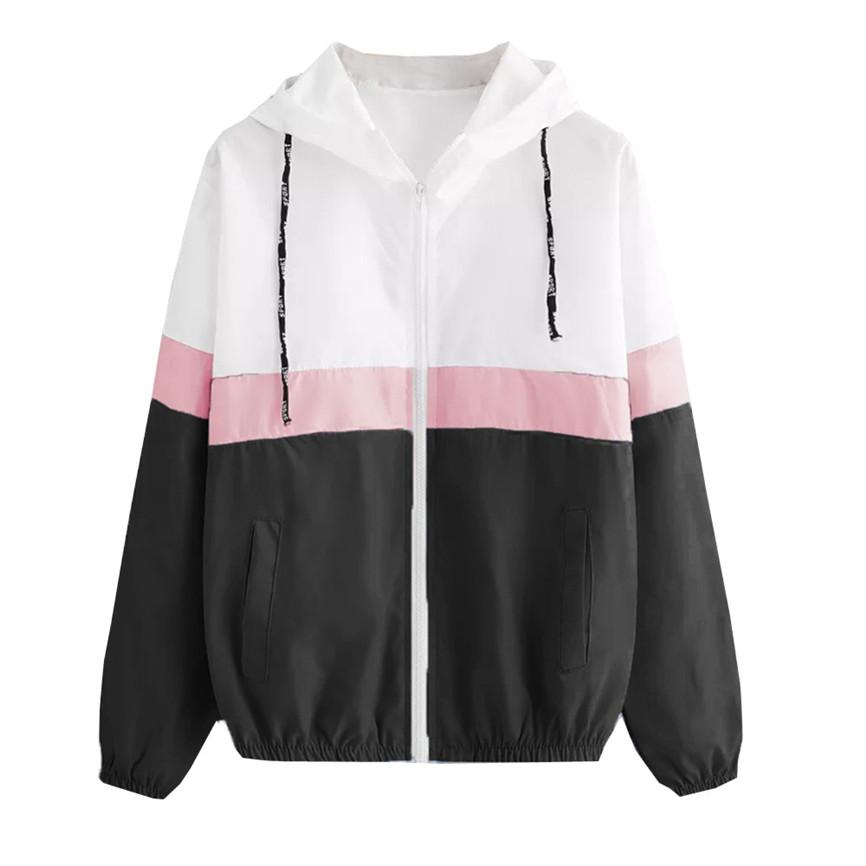 Women Long Sleeve Patchwork Skinsuits Hooded Zipper Pockets Sport Jacket Coat