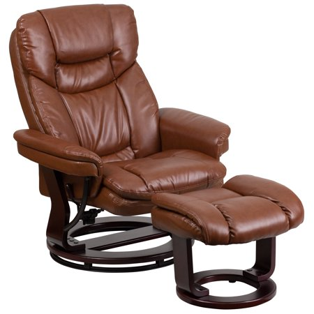 Flash Furniture Contemporary Leather Recliner and Ottoman with Swiveling Mahogany Wood Base, Multiple