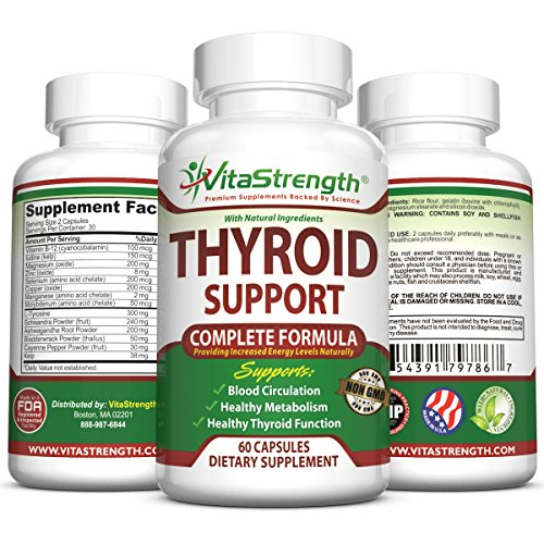 Premium Thyroid Support Supplement- Complete Formula to Improve Energy with Bladderwrack, Kelp, B12 & More -Best Thyroid Supplements for Hypothyroidism