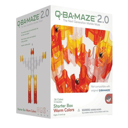Q-Ba-Maze Warm Colors, Q-Ba-Maze 2.0 Is A Unique System Of Colorful Cubes That Interlock To Form A Marble Run By MindWare (Marble Maze)