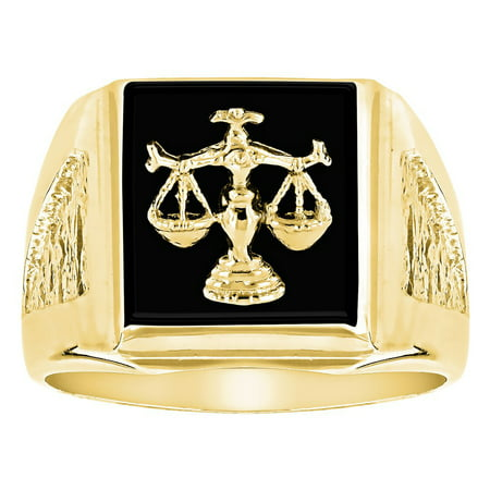 Luxurman Mens Natural Black Onyx 14K Libra Scales Ring For Him (Yellow Gold Size 7) ()