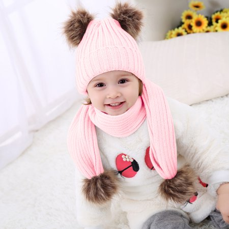 fdefe3e539a3aa Baby Spring Winter Warm Hat w/ Scarf Baby Newborn Knit Hat Infant Toddler  Kid Crochet