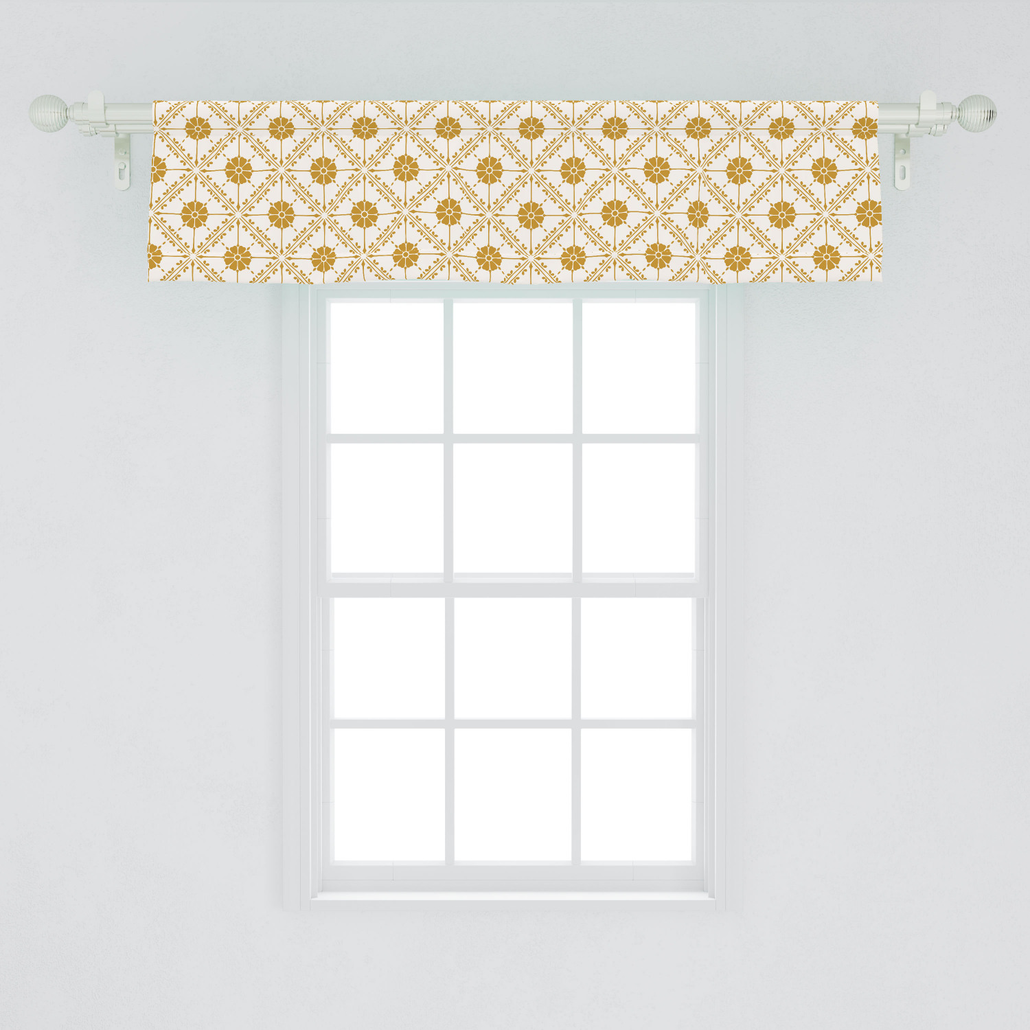 Boho Window Valance Soft Toned Pattern With Flowers Details In Diagonal Squares Curtain Valance For Kitchen Bedroom Decor With Rod Pocket By Ambesonne Walmart Com Walmart Com