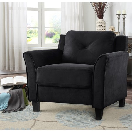 - Lifestyle Solutions Taryn Rolled Arm Chair, Black Fabric