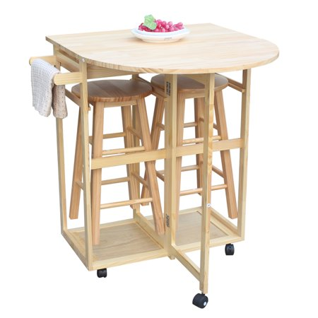Kitchen Island Cart, Solid Wood Folding Rolling Kitchen Cart with 2 Round Bar Stools, Semicircle Dining Cart in Home with 2 Front Drawers and a Towel Bar for Saving Kitchen Space, S1007 ()