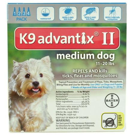 Bayer K9 Advantix II 11-20 lbs MD dog four pack EPA product No