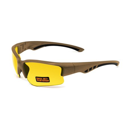 2017 Maxx Sunglasses SS3 Coyote Brown Half Frame with Ansi Z87+ Yellow Lens (Yellow Sunglasses)