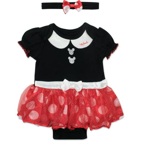 Disney Minnie Mouse Baby Girls' Costume Tutu Dress Bodysuit - Minnie Mouse First Birthday Dress