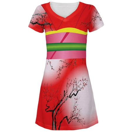 Halloween Red Kimono Costume All Over Juniors V-Neck Dress](Hotel V Bar Halloween)