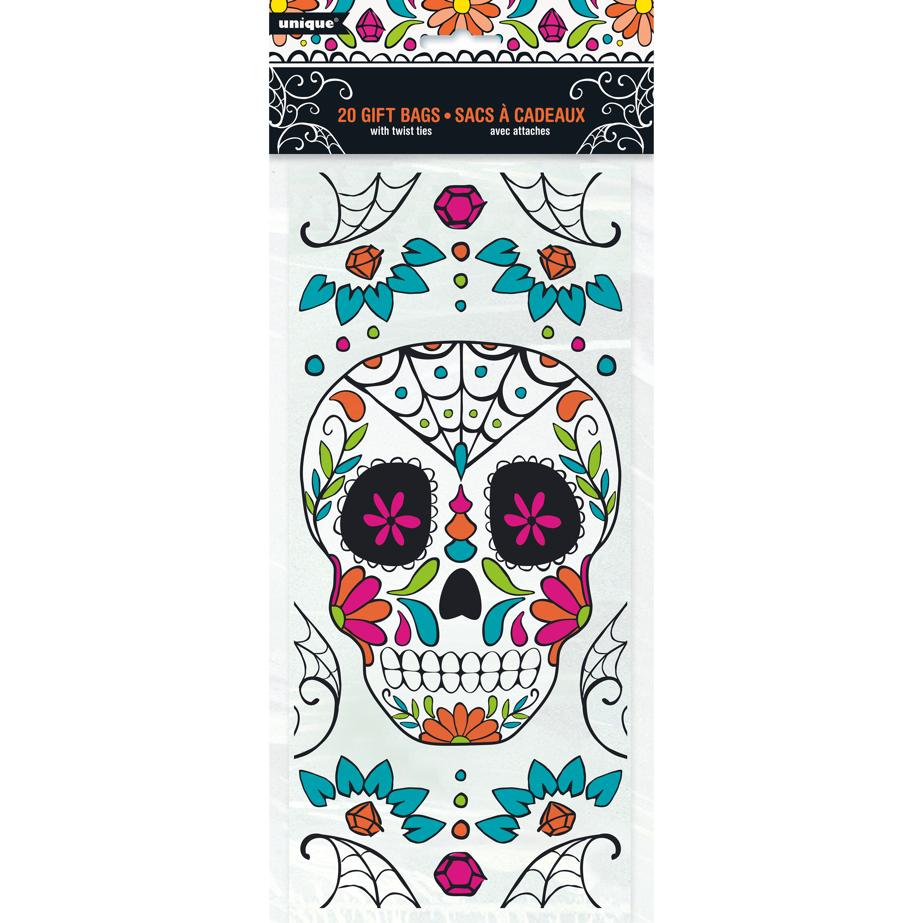 Skull Day of the Dead Cellophane Bags, 11.5 x 5 in, 20ct