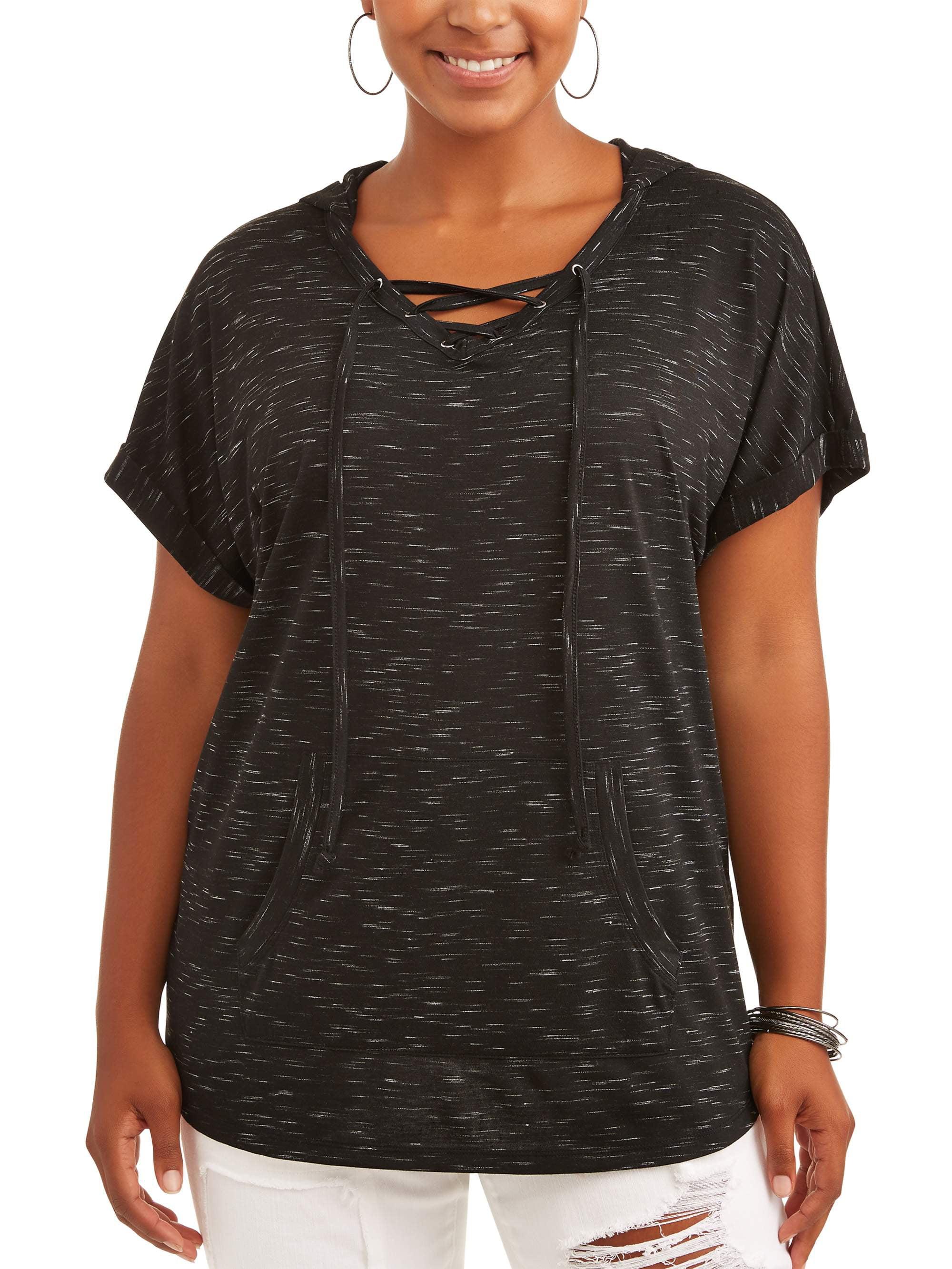 Women's Plus Short Sleeve Dolman Hoodie