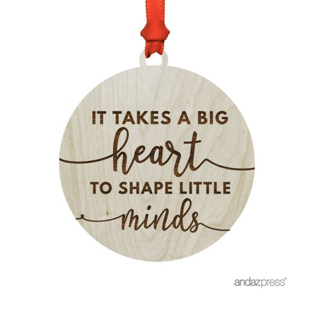 Big Christmas Gifts (Laser Engraved Wood Christmas Ornament with Gift Bag, It Takes a Big Heart to Change Little Minds, Teacher)