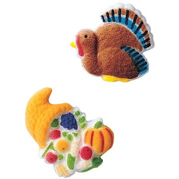 Turkey And Cornucopia Sugar Decorations Toppers Cupcake Cake Cookies Thanksgiving Favors Party 12