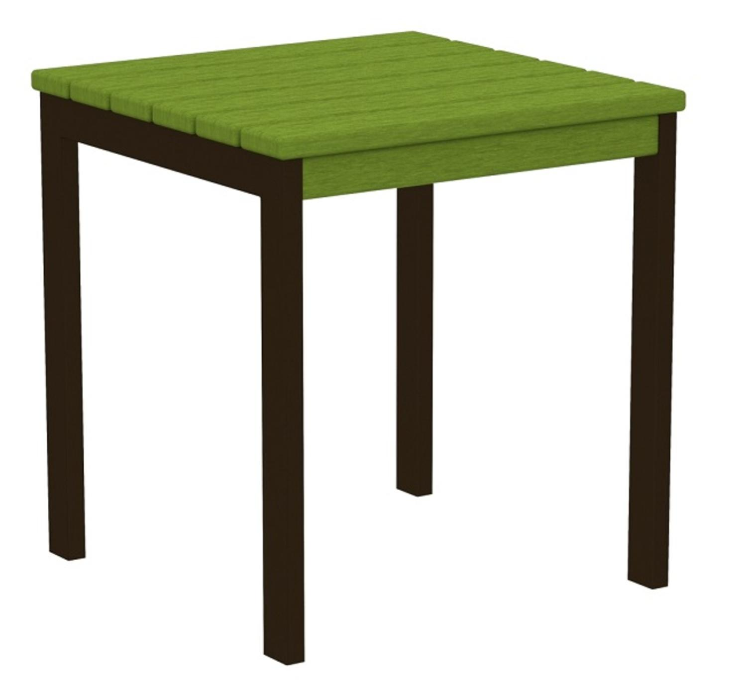 "18"" Recycled Earth-Friendly Square Side Table - Lime Green with Bronze Frame"