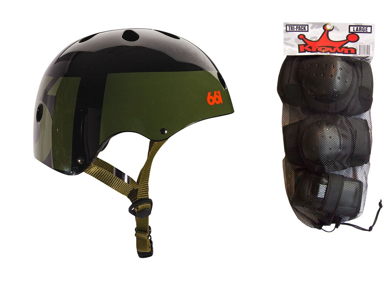 661 Dirt Lid Skate BMX Helmet Army CPSC with Knee Elbow Wrist Pads Large by