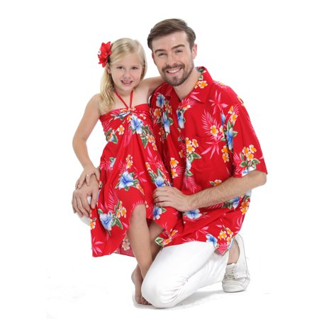 Matching Father Daughter Hawaiian Luau Cruise Outfit Shirt Dress Hibiscus Red Men 3XL Girl 2