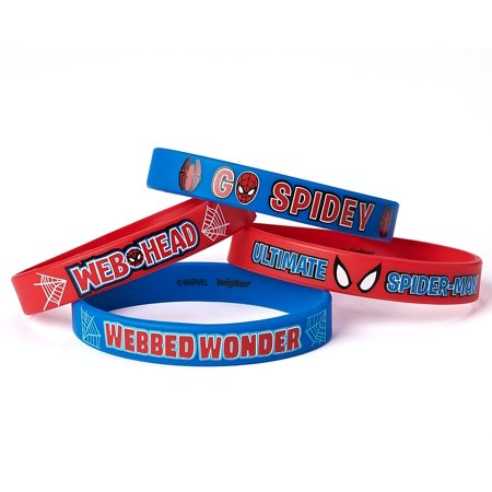 Marvel S Ultimate Spider Man Birthday Party Rubber Bracelet Favour Pack Of 4 Blue