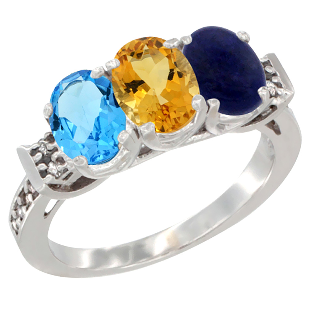 10K White Gold Natural Swiss Blue Topaz, Citrine & Lapis Ring 3-Stone Oval 7x5 mm Diamond Accent, sizes 5 10 by WorldJewels