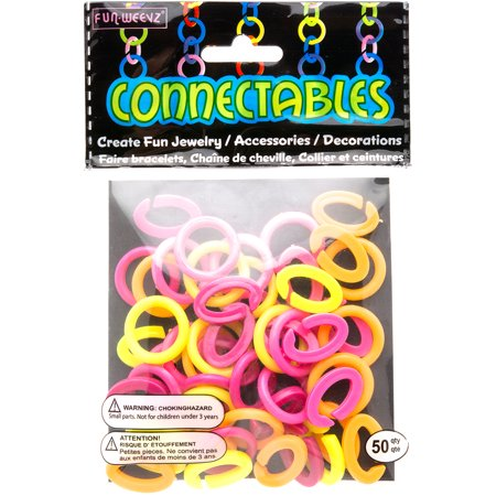 White Neon Pink Yellow and Orange Large Fun Weevz Connectalbes Kit for Bracelets and Necklaces](Neon Bracelets And Necklaces)