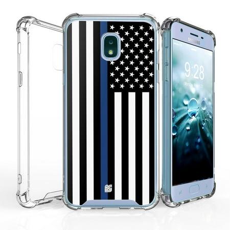 AquaFlex Shock Bumper Design Protection Phone Cover Case and Atom Cloth for Samsung Galaxy J7, J7 V 2nd Gen 2018 - Thin Blue Line Flag