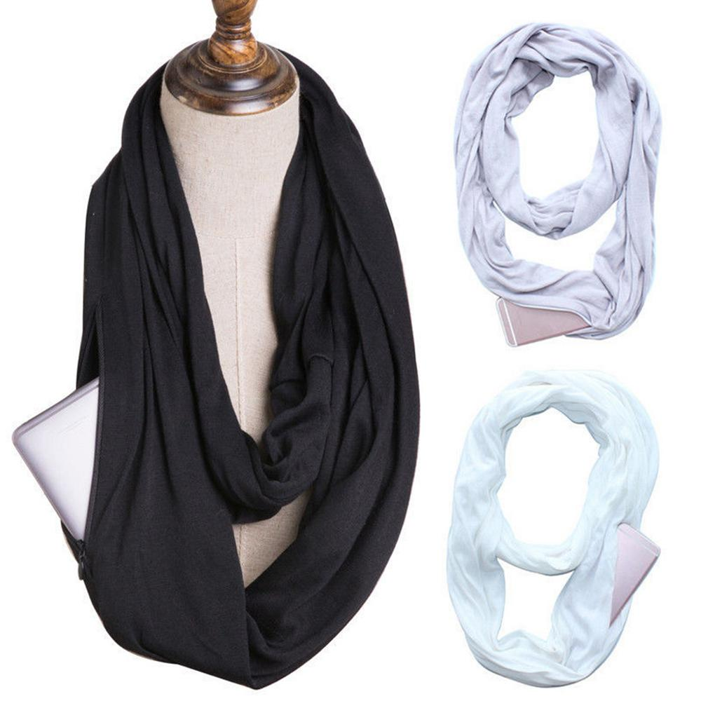 Women Fashion Solid Color Scarf Infinity Scarf with Zipper Pocket Travel Scarves