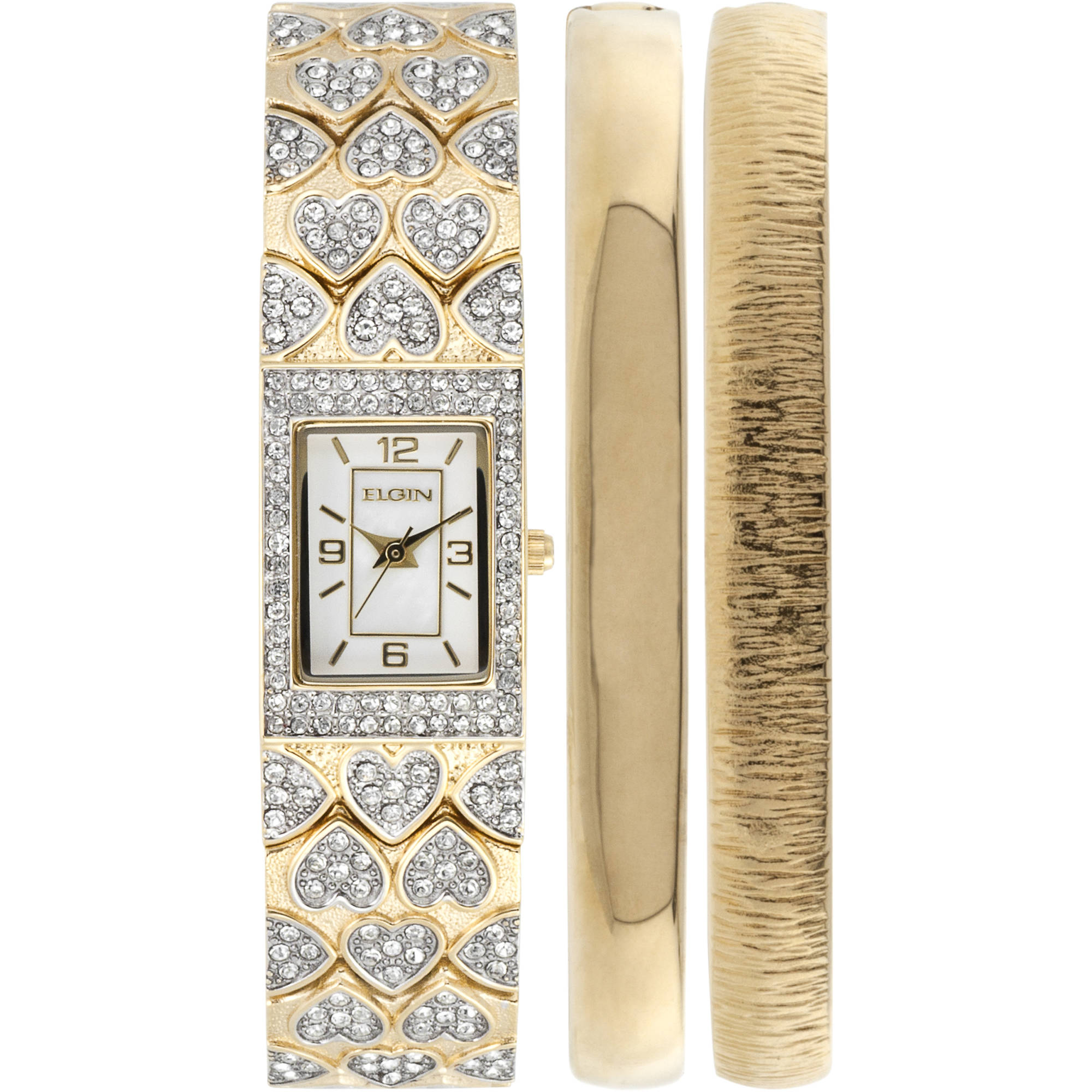 Elgin Women's Gold-Tone White Mother of Pearl Dial Round Crystal Accented Double Bangle Watch Set