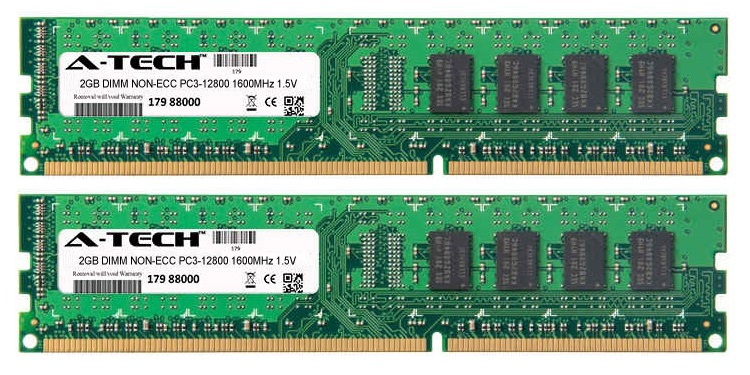 4GB Kit 2x 2GB Modules PC3-12800 1600MHz 1.5V NON-ECC DDR3 DIMM Desktop 240-pin Memory Ram