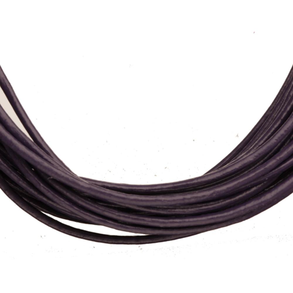 Full-Grain Genuine Leather Cord, 1.5mm Round Dark Indigo 5 Yard