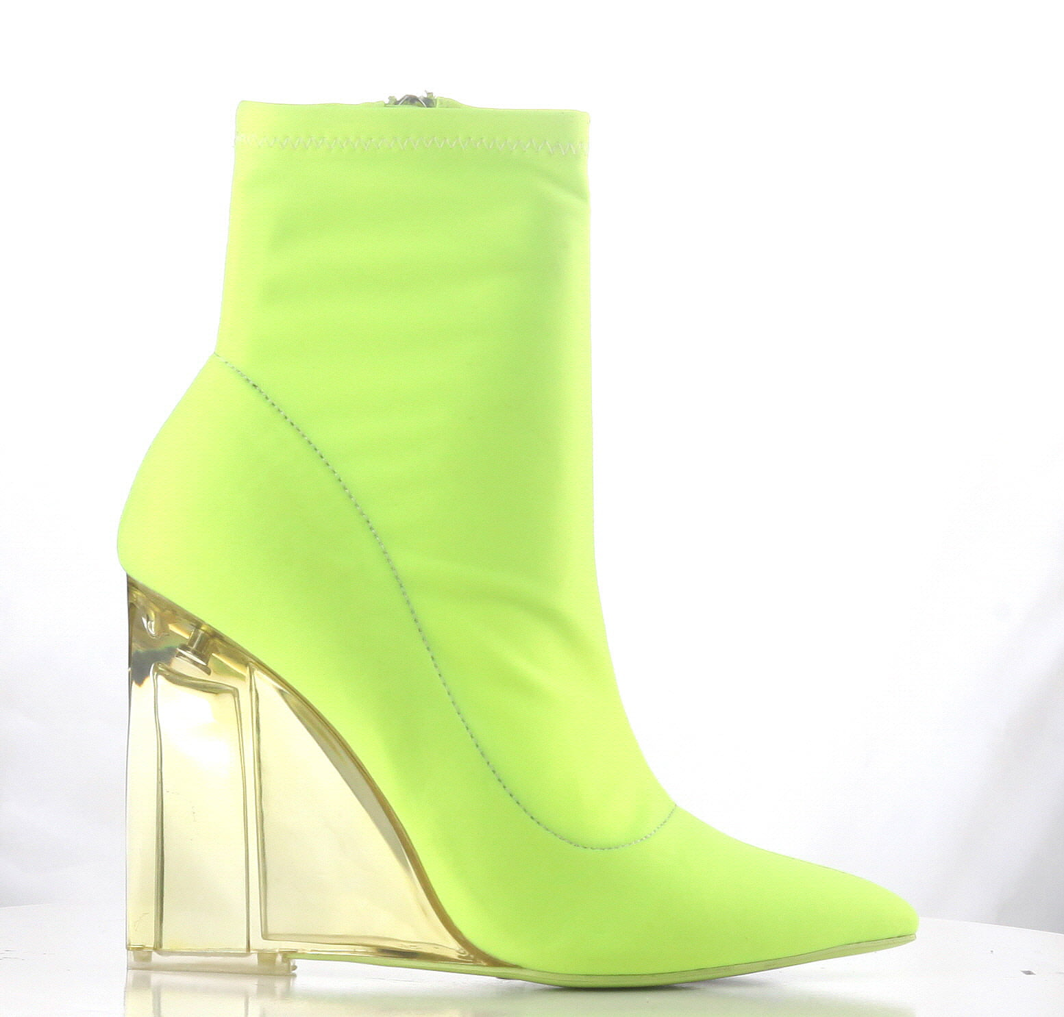 Cape Robbin Sporty Mystic-2 Neon Yellow Fitted Sporty Robbin Bootie Clear Lucite Pointed Boot (7.5) 843d4d