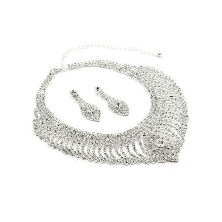 Silver Crystal Rhinestone Teardrop Pear Shape Dangle Earrings & Ripple Net with Center Stone Necklace Jewelry - Halloween Rhinestone Jewelry