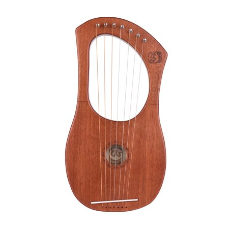 Walter.t 7-String Wooden Lyre Harp Metal Strings Mahogany Wood Topboard & Backboard String Instrument with Carry Bag WH05