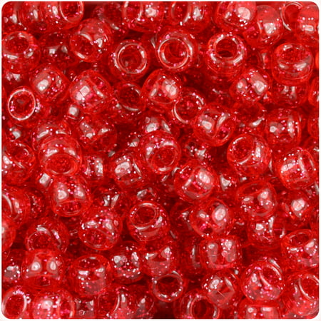 Carats Ruby Sapphire Beads - BeadTin Ruby Sparkle 9mm Barrel Pony Beads (500pc)