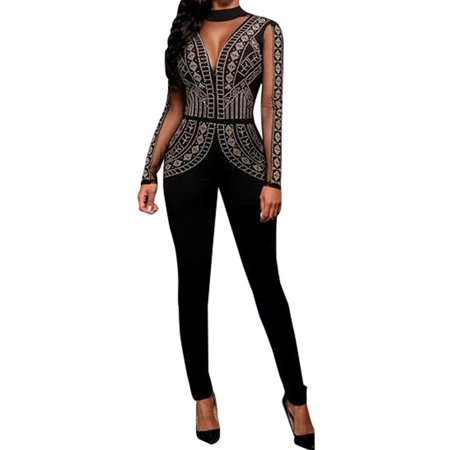 Light Up Body Suit (Women Long Sleeved Sequins Skinny Bodysuit Long Party)