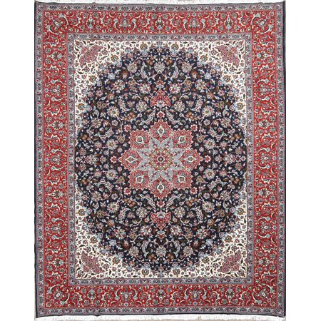 Rugselect Blue Floral Machine Made 10x12 Wool Oriental