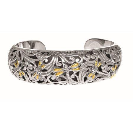 Dragonfly Cuff Bracelet - Sterling Silver 18k Yellow Gold Oxidized 0.59ct. Diamond Dragonfly Wider Cuff Bangle Bracelet
