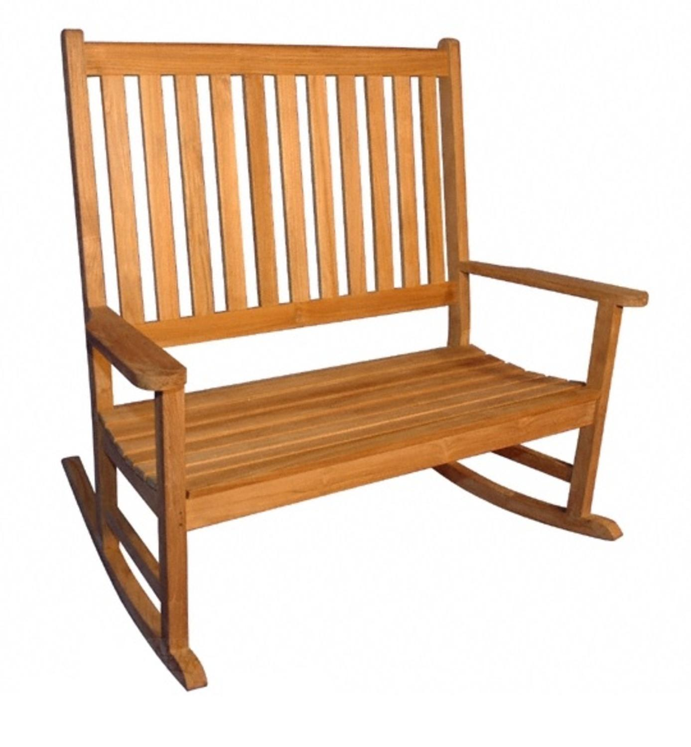 "51"" Natural Teak Outdoor Patio Wooden Double Rocker with Arms"