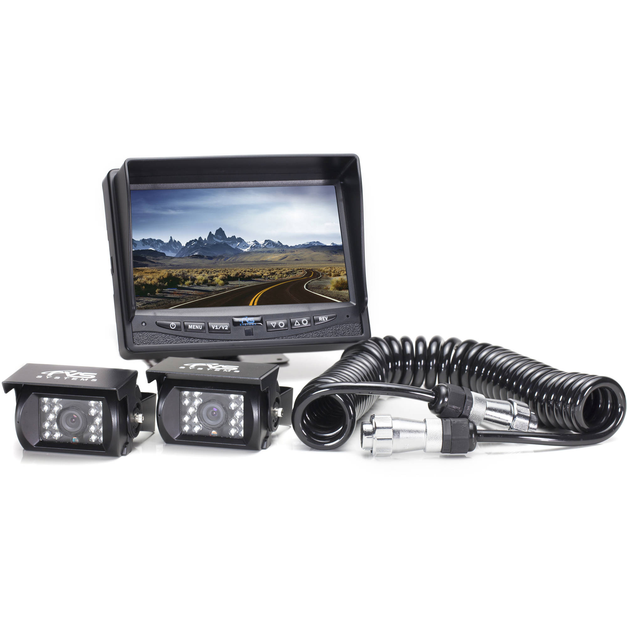 Rear View Camera System, 2 Camera Setup with Trailer Tow Quick Connect/Disconnect Kit