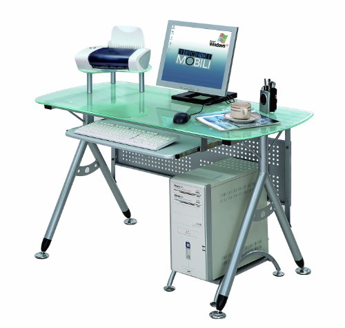 Techni Mobili Glacier Glass Top Metal Computer Desk