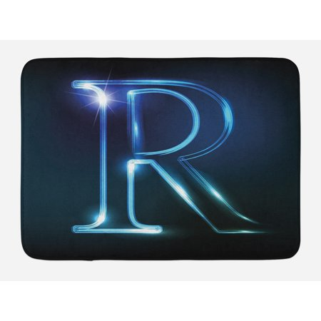 Letter R Bath Mat, Writing Language with Futuristic Design Elements Modern Themed Calligraphy Print, Non-Slip Plush Mat Bathroom Kitchen Laundry Room Decor, 29.5 X 17.5 Inches, Blue Black, Ambesonne