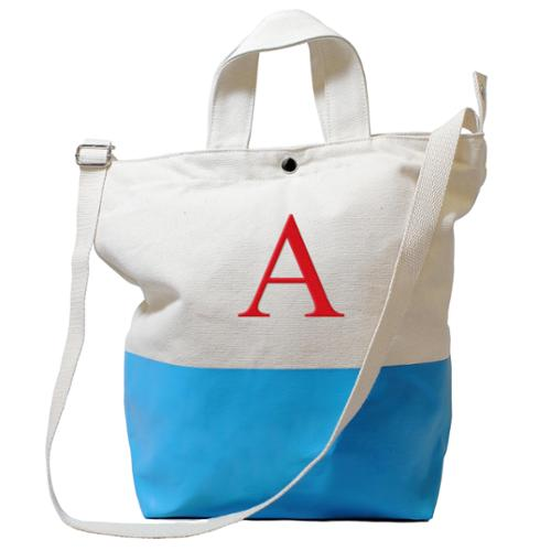 Personalized Aqua Latex-dipped Canvas Tote Bag B
