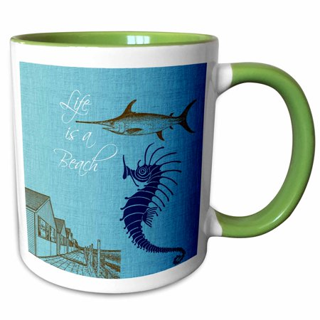 3dRose Life is a Beach cottages with fish and seahorse beach theme - Two Tone Green Mug, 11-ounce