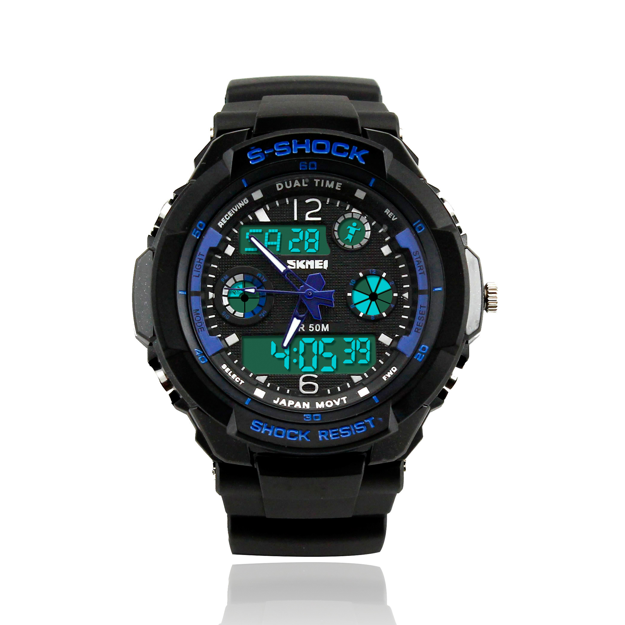 Mens Fashion Waterpoof Analogue Military Digital LCD Alarm Date Army Rubber Sport Watch Wristwatch  - Blue