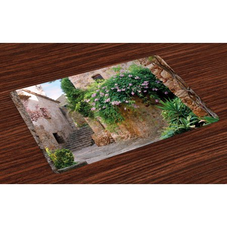 - Landscape Placemats Set of 4 Summer Garden Flowers Marigold Stones Antique Ancient House in Spain Art Print, Washable Fabric Place Mats for Dining Room Kitchen Table Decor,Multicolor, by Ambesonne
