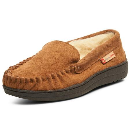 Alpine Swiss Yukon Mens Suede Shearling Moccasin Slippers Moc Toe Slip On Shoes ()