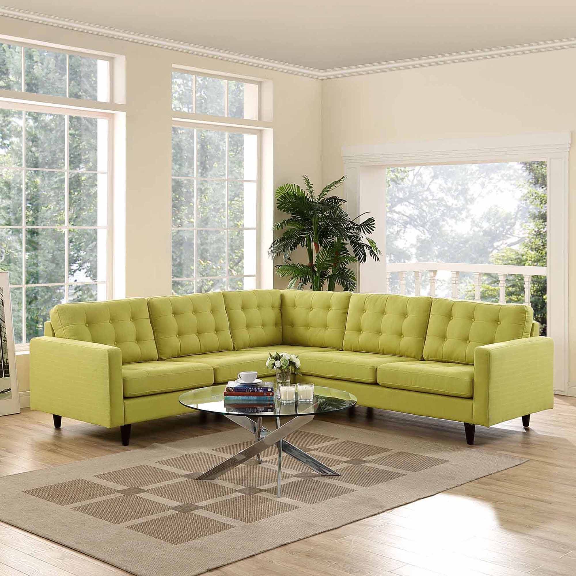 Modway Empress 3 Piece Fabric Sectional Sofa Set Multiple Colors